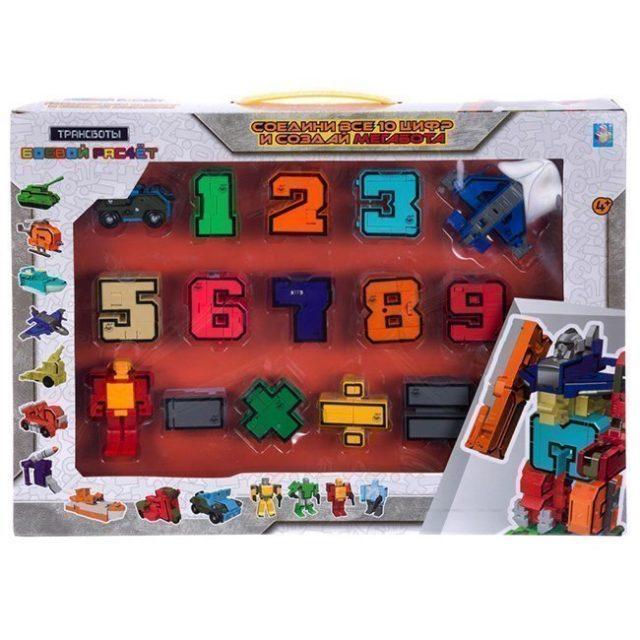 Трансформер Т16430 1toy Трансботы Боевой расчёт 10 цифр 5 знаков коробка с окном
